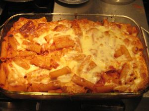 Baked ziti with clam sauce