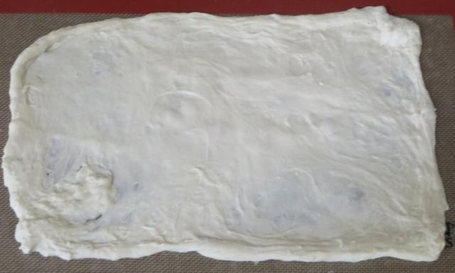 No knead dough flattened