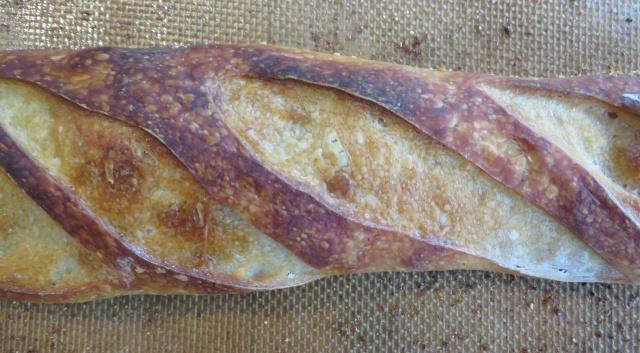 Steamed baguette closeup