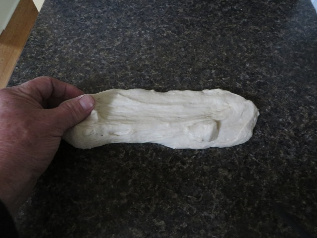 Stretch dough sideways